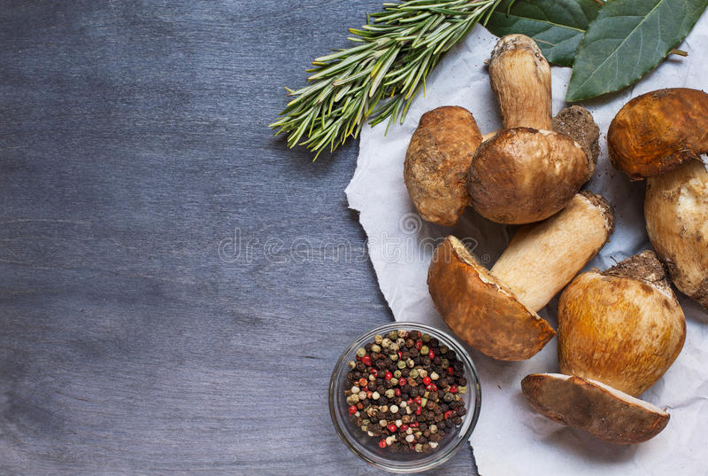 Подосиновик нескольких грибов с перцем и розмариновым маслом стоковая фотография
