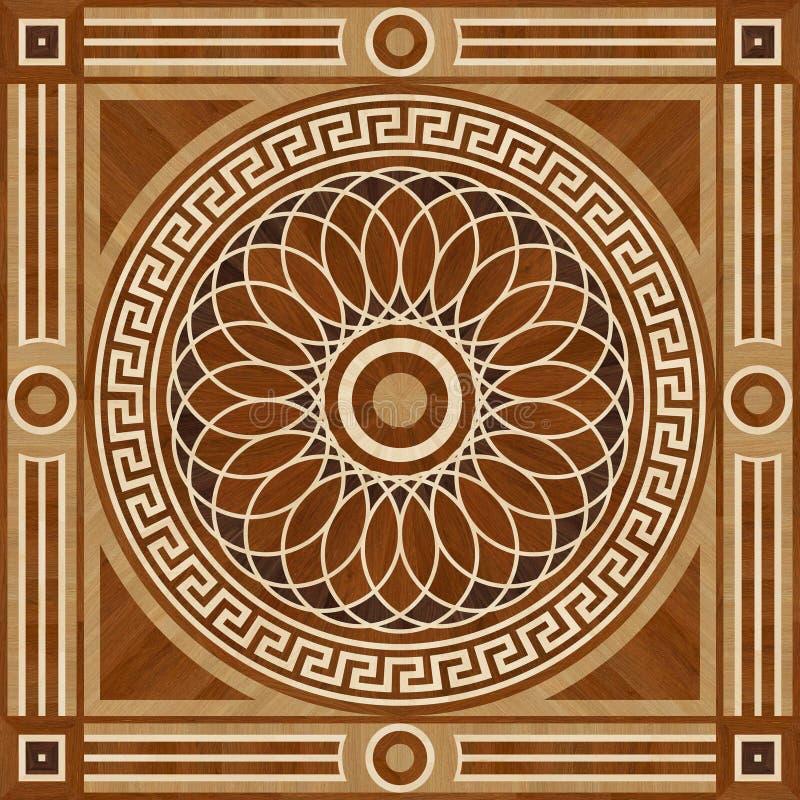 Пол партера дизайна медальона, деревянная безшовная текстура иллюстрация штока