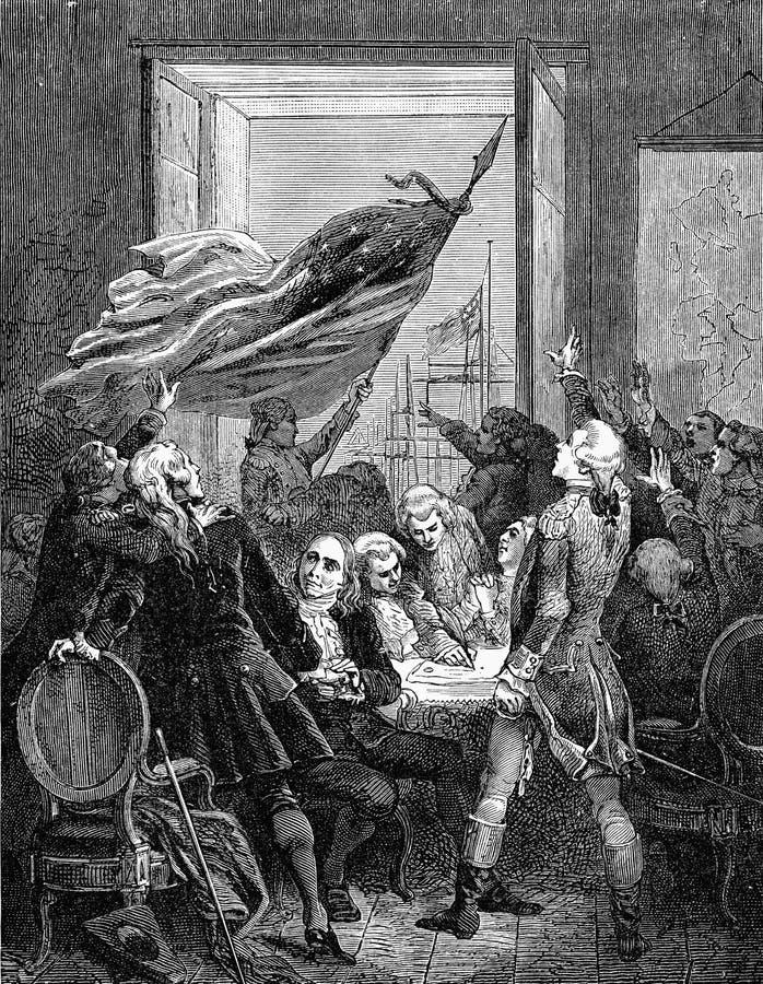 Подписание Декларации Независимости американца США иллюстрация вектора