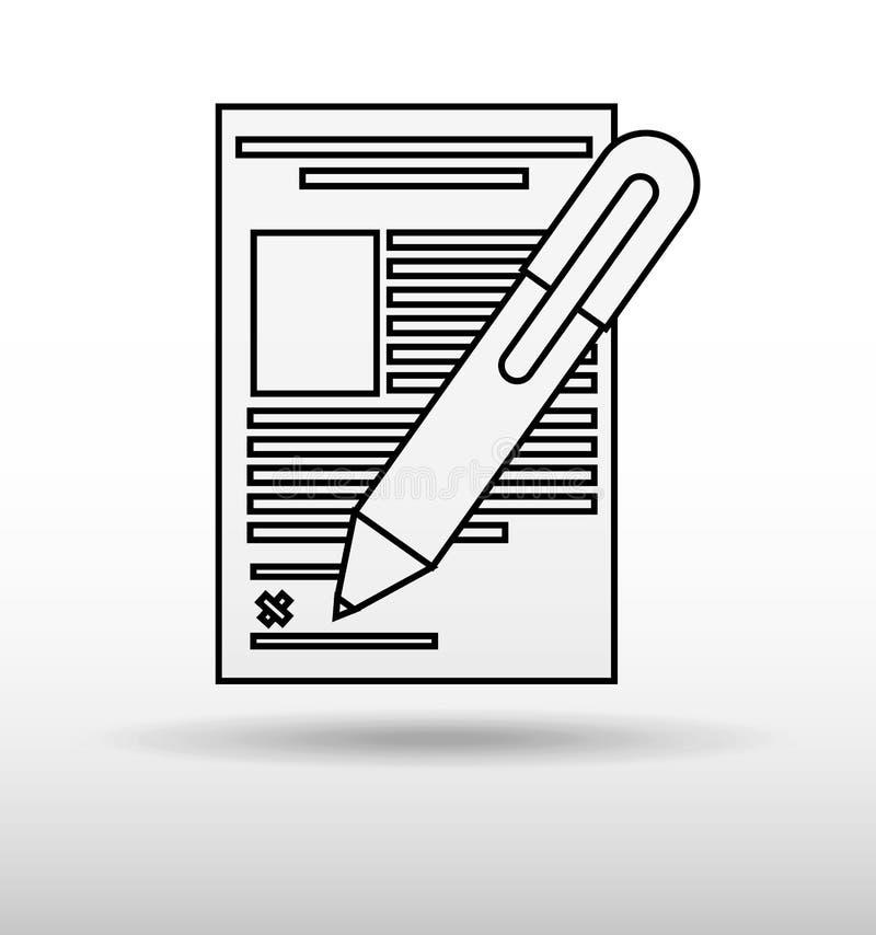 подписывая дизайн контракта иллюстрация вектора