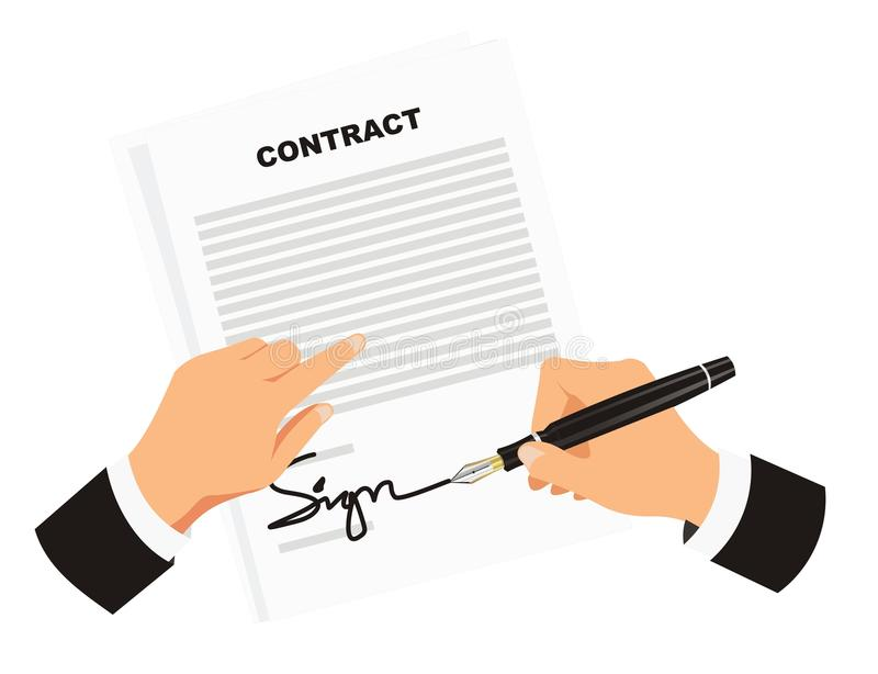 Подписывая контракт для дела бесплатная иллюстрация