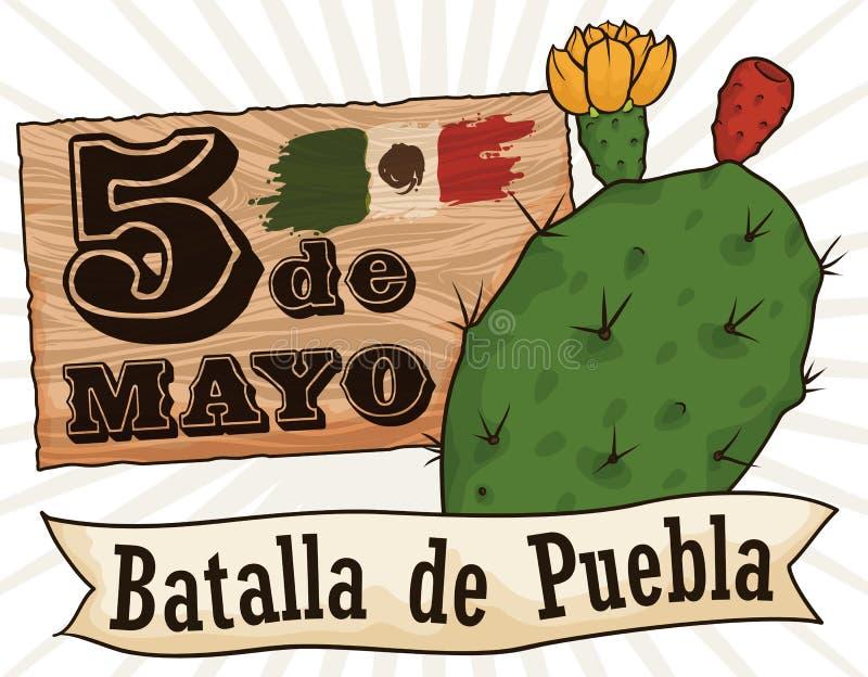 Подпишите с датой и Nopal напоминания для Cinco de Mayo, иллюстрации вектора бесплатная иллюстрация