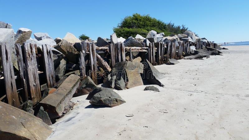 Подпорная стенка на форте на SC острова Sullivan стоковая фотография