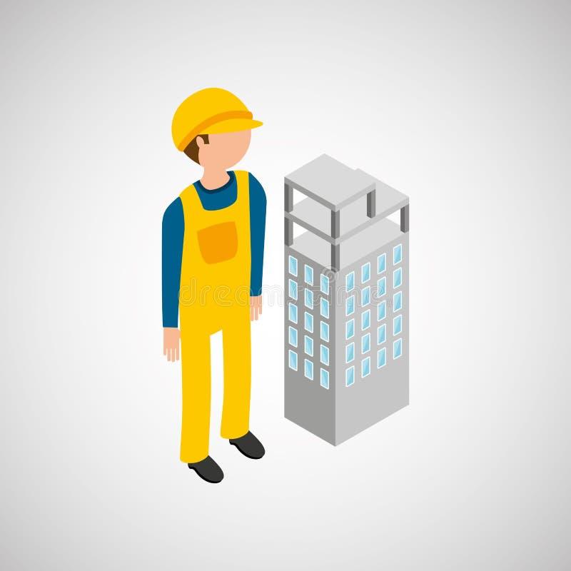 Под рабочий-строителем с зданием бесплатная иллюстрация