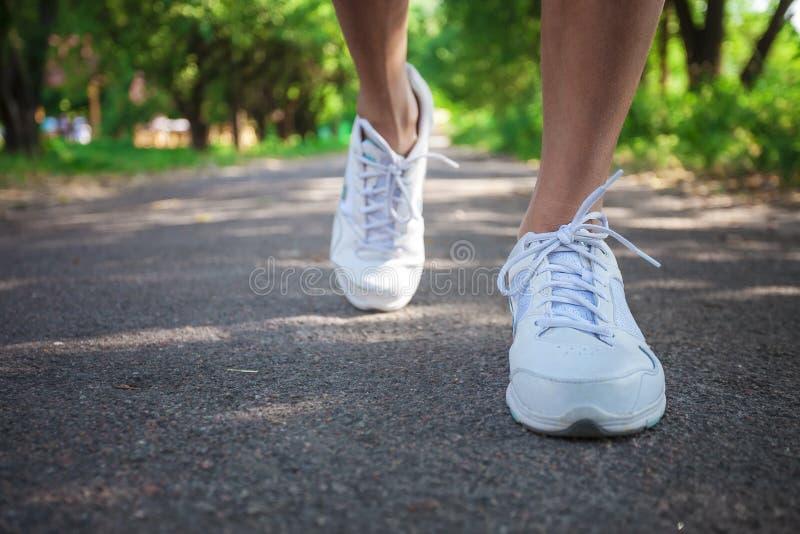 Подрезанный взгляд спортсмена женщины бежать на тропе в парке стоковые изображения