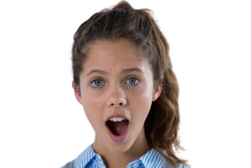подростковое девушки сотрястенное портретом стоковое изображение rf