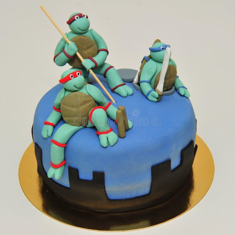 Подростковый торт помадки черепах мутанта Ninja стоковое изображение