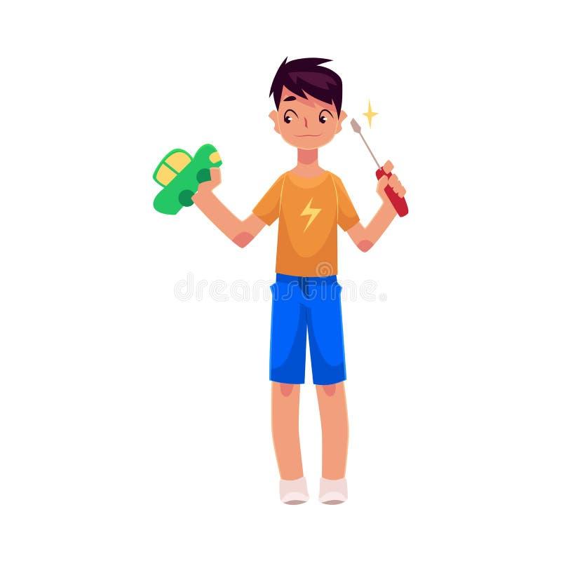 Подросток держа отвертку, пробуя зафиксировать, отремонтировать автомобиль игрушки бесплатная иллюстрация