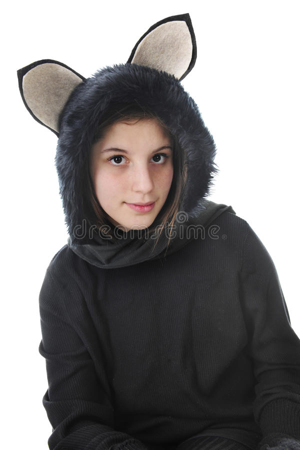 Подросток как черный кот стоковая фотография rf