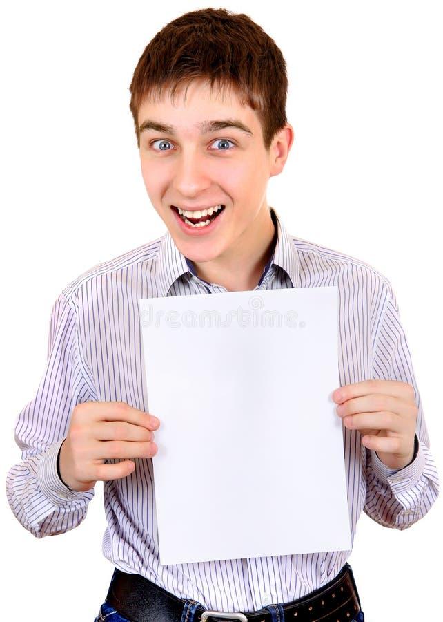 подросток пустой бумаги стоковые фото