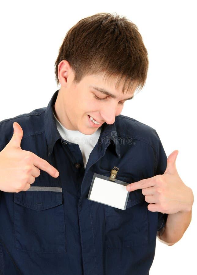 Подросток с пустым значком стоковые фотографии rf