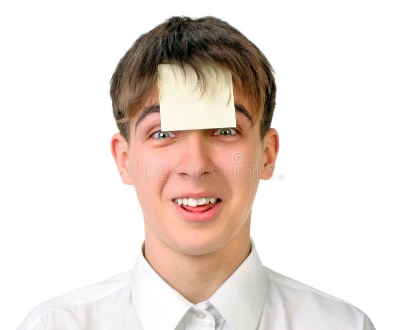 Подросток с пустым стикером стоковая фотография