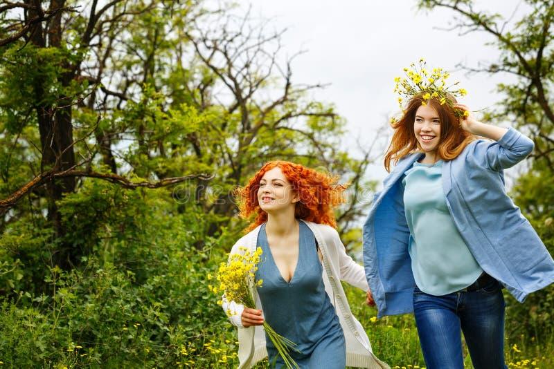 Подруги идя в парк стоковое фото rf