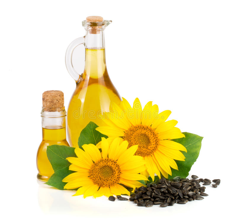 Подсолнечное масло, семена и цветок изолированные на белой предпосылке стоковое фото rf