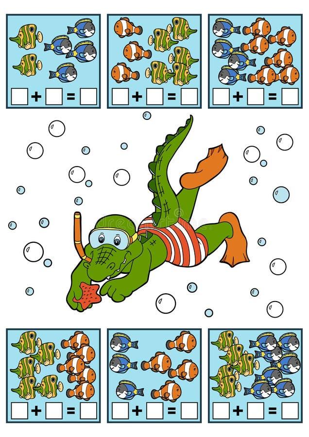 Подсчитывать игру для детей Рабочие листы добавлению иллюстрация штока