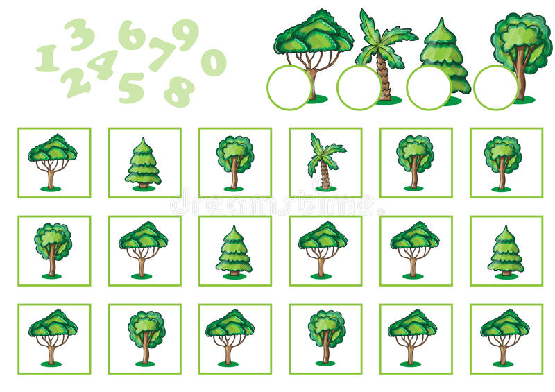 Подсчитывать игру для детей с деревьями бесплатная иллюстрация