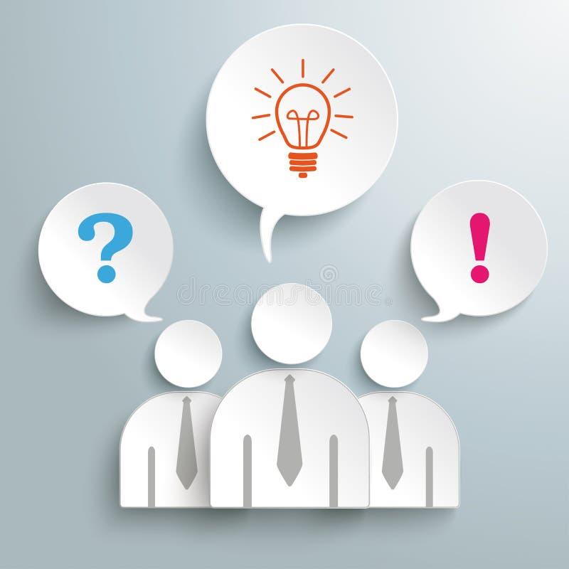 Подтверждение PiAd идеи 3 бумажное вопросах о людей иллюстрация штока