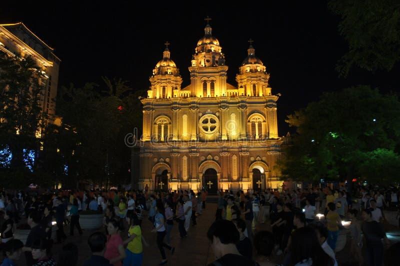 Полуночная церковь в лунном свете Пекина стоковая фотография