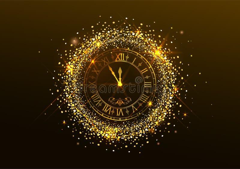 Полуночный Новый Год Хронометрируйте с римскими цифрами и confetti золота на темной предпосылке иллюстрация вектора