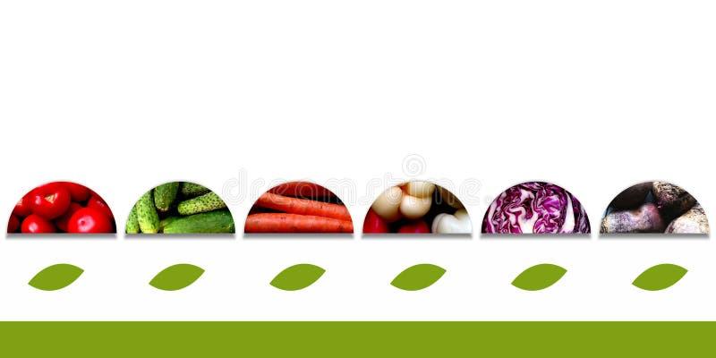 Полуокружности с овощами и с большими листьями underneath стоковые изображения rf