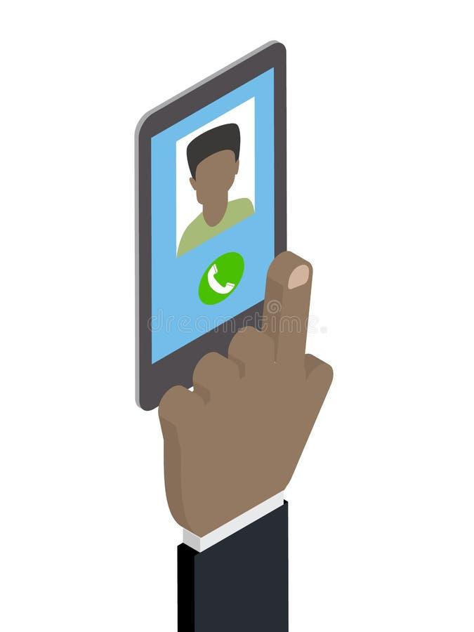 Получать телефонный звонок вызывая Афро-американского человека равновелико иллюстрация вектора
