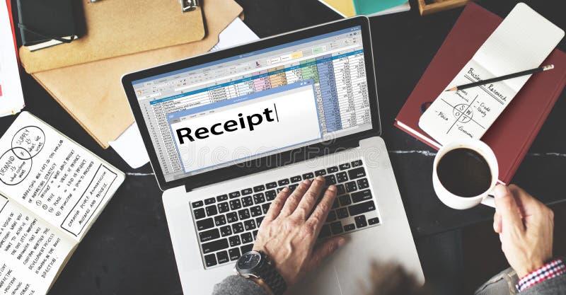 Получение Receipts расходы цены финансовые тратит концепцию стоковые фото