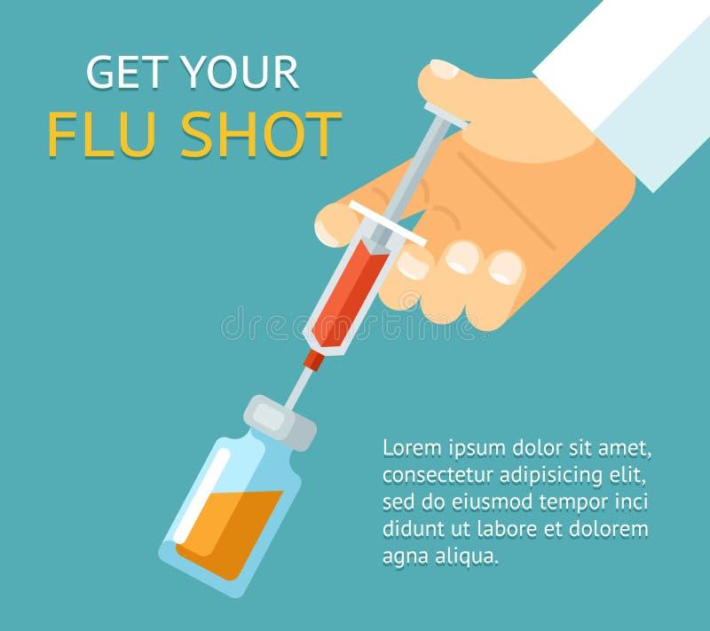 Получите вашу прививку от гриппа Рука доктора с шприцем иллюстрация вектора