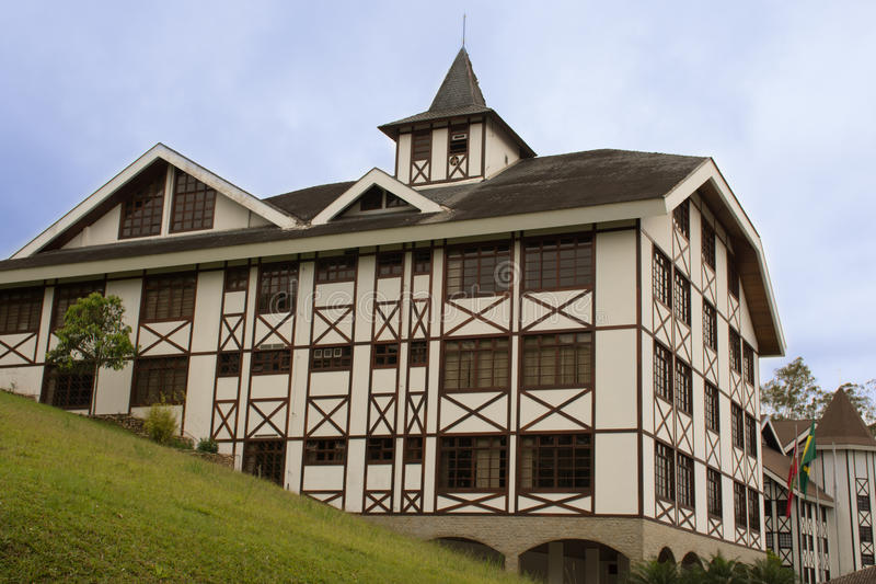 Полу-timbered здание в стиле - Brusque - Санта-Катарина, Бразилия стоковые фото