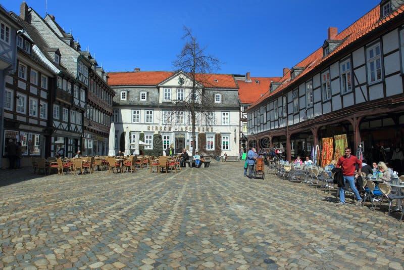 Полу-timbered дома в Goslar стоковая фотография rf