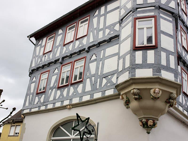 Полу-timbered-III-Waiblingen-Германия стоковое фото