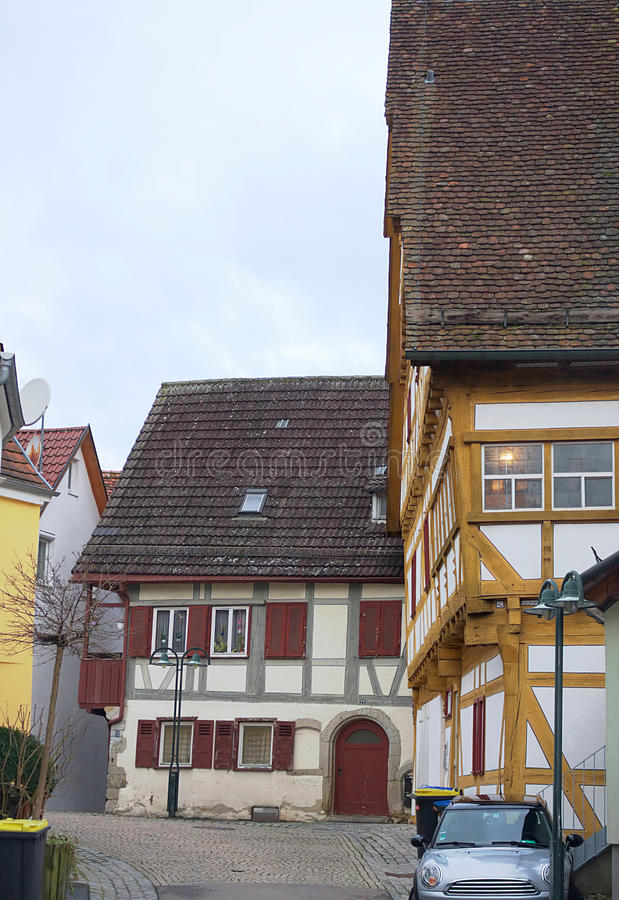Полу-timbered-IV-Waiblingen стоковые фотографии rf