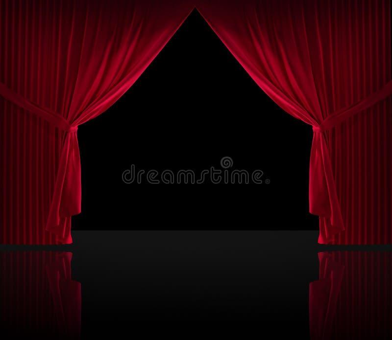 Пол черноты courtain бархата красный иллюстрация штока