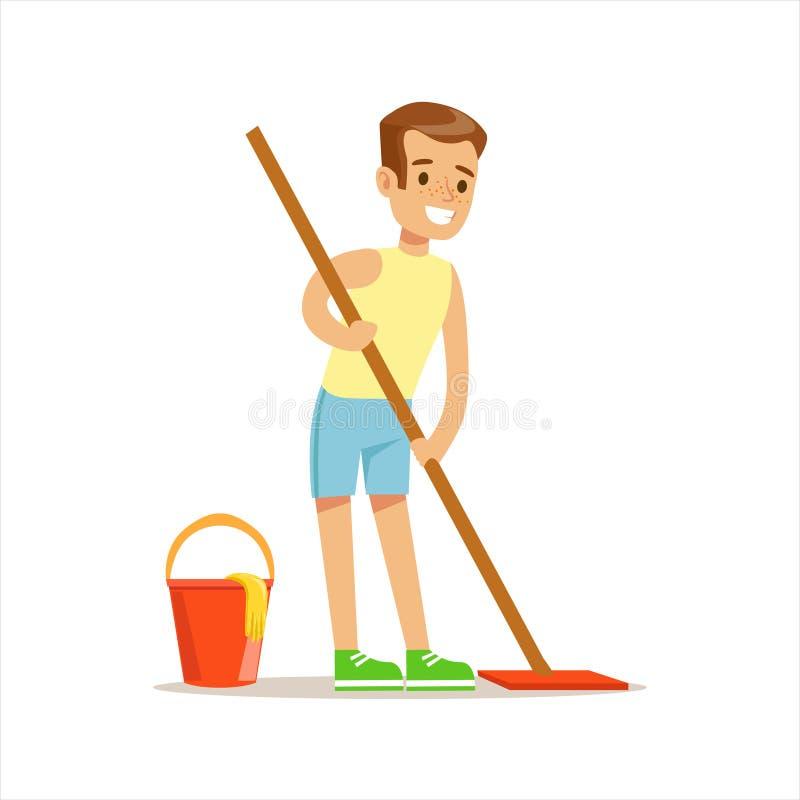 Пол чистки мальчика с порцией характера ребенк шаржа Mop усмехаясь с домоустройством и делать уборку дома иллюстрация штока
