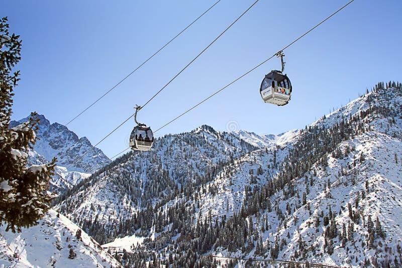 Подъемы лыжи в зиму стоковое изображение