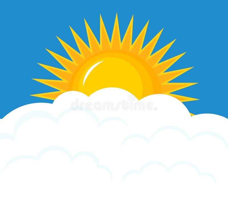 Подъем Солнця над облаками иллюстрация штока