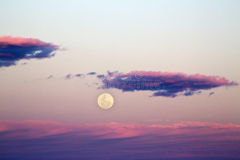 Подъем Supermoon на заход солнца стоковая фотография rf