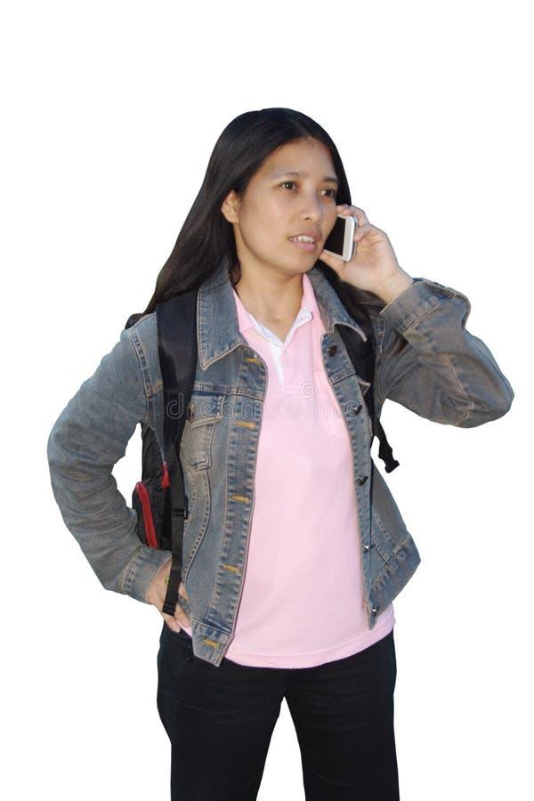 Польза телефона женщины стоковые фото