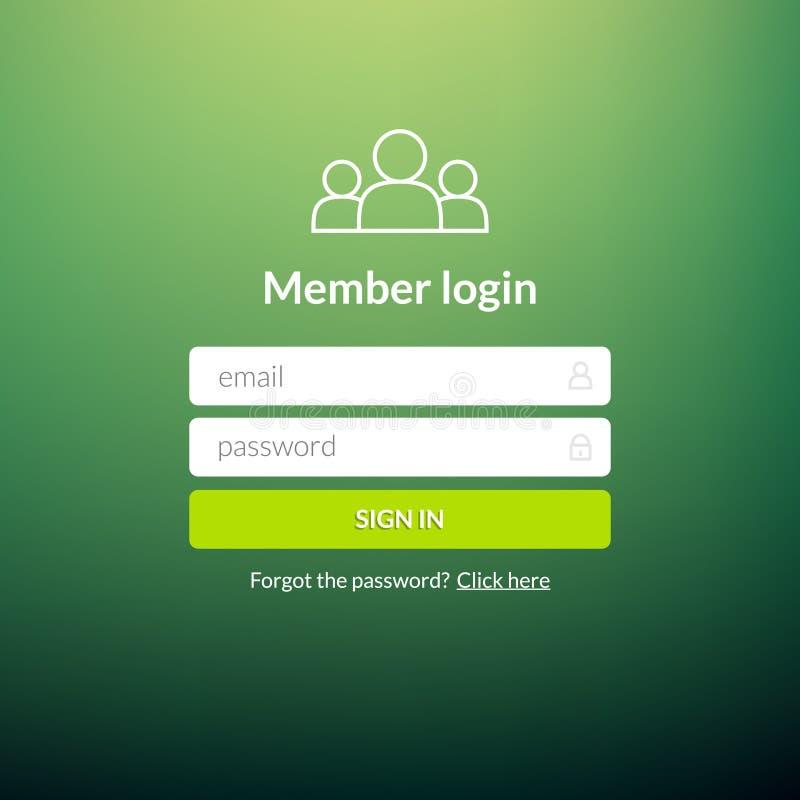 Пользовательский интерфейс имени пользователя Подпишите внутри окно шаблона элемента сети Ui вебсайта дела современное бесплатная иллюстрация