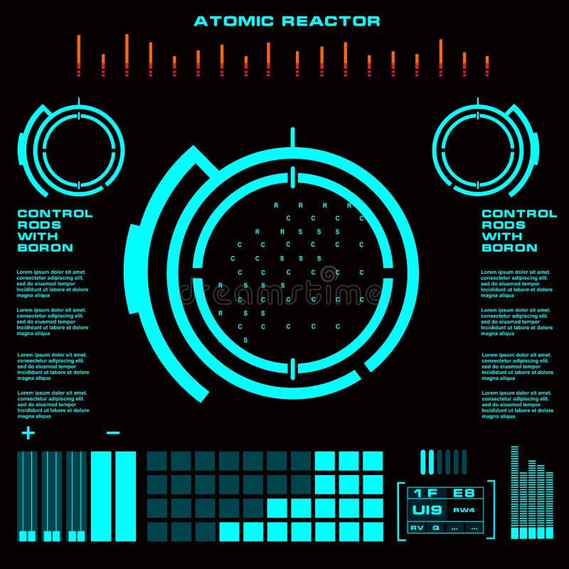 Пользовательский интерфейс касания ядерного реактора футуристический виртуальный графический бесплатная иллюстрация
