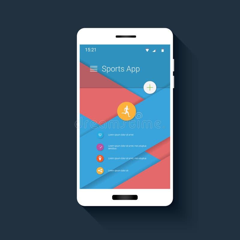 Пользовательский интерфейс отслежывателя фитнеса передвижной с значками для монитора app спорта Gui Smartphone на красном, голубо бесплатная иллюстрация