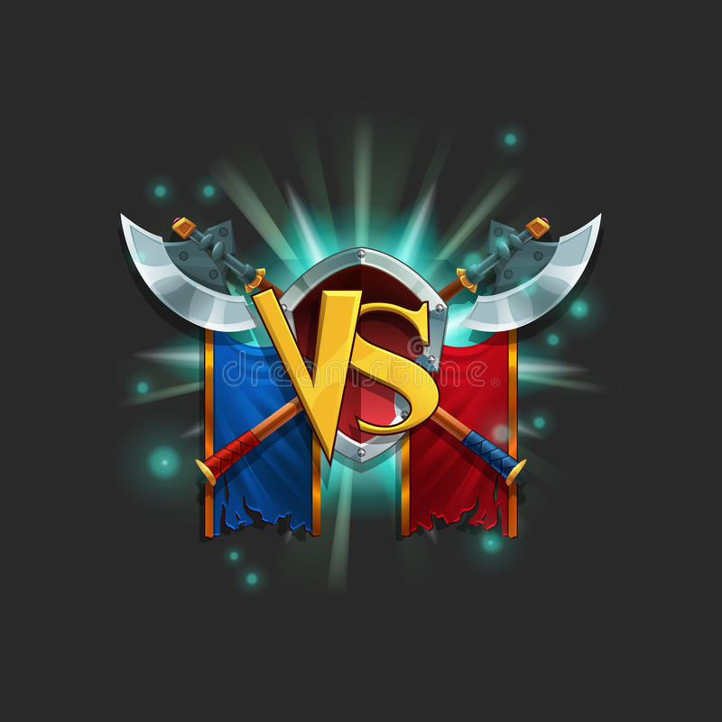 Пользовательский интерфейс примера уровня загрузки игры Победа окна с гербом иллюстрация вектора