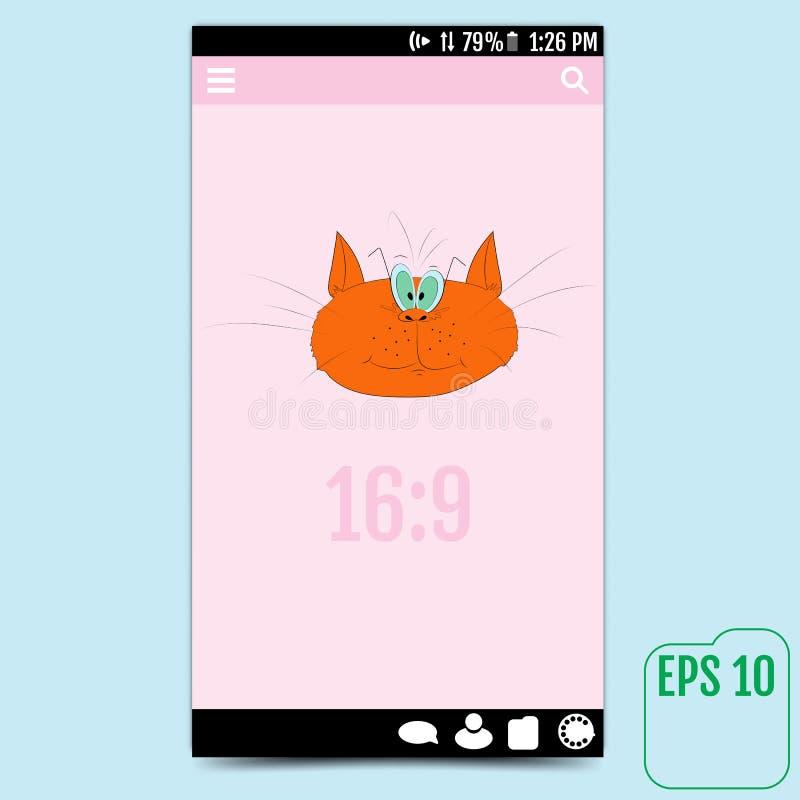 Пользовательский интерфейс при красный кот, причиняя улыбку вектор бесплатная иллюстрация