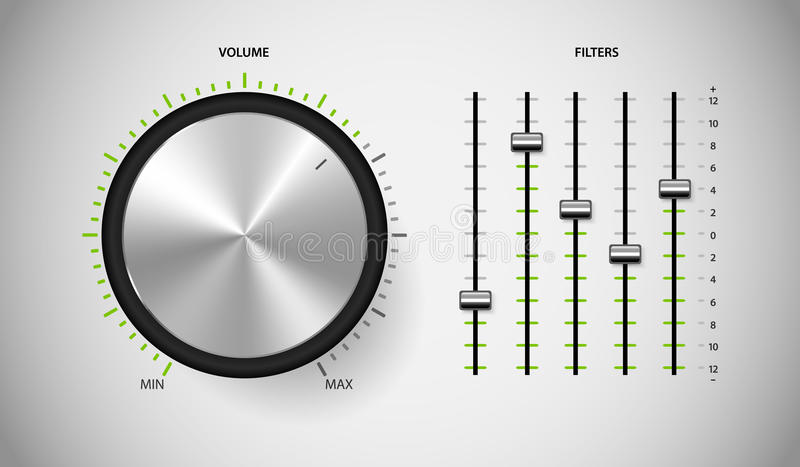 Пользовательский интерфейс управлением средств массовой информации DJ. иллюстрация вектора