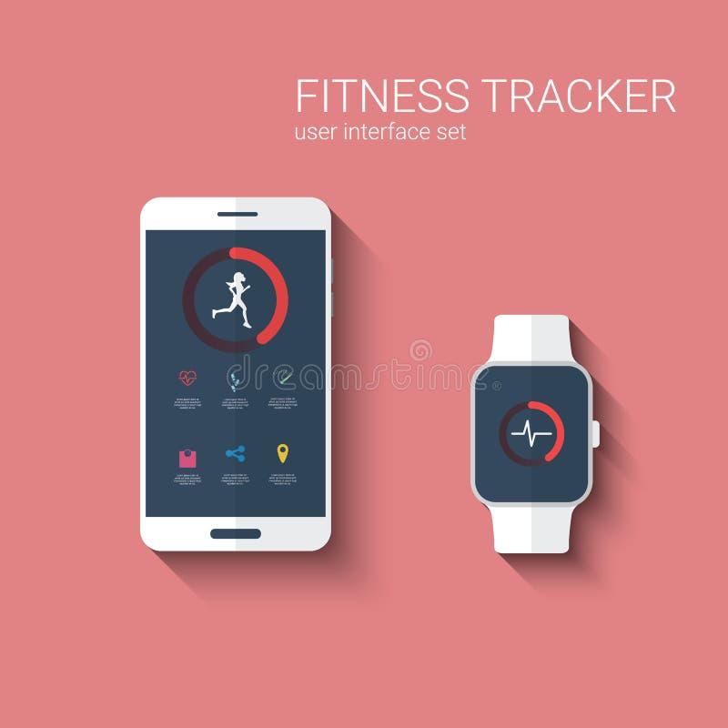 Пользовательский интерфейс app отслежывателя фитнеса графический для иллюстрация вектора