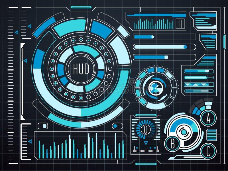 Пользовательский интерфейс HUD касания научной фантастики футуристический виртуальный графический иллюстрация штока