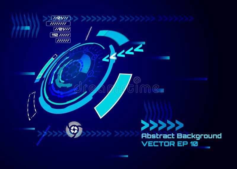 Пользовательский интерфейс Sci fi футуристический концепция цифровой технологии компьютера высок-техника, иллюстрация вектора иллюстрация штока