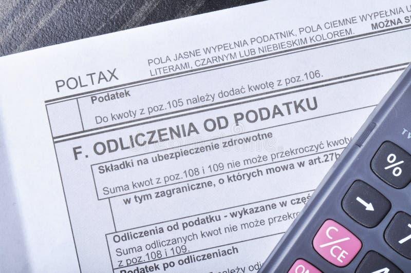 Польская налоговая форма стоковое фото