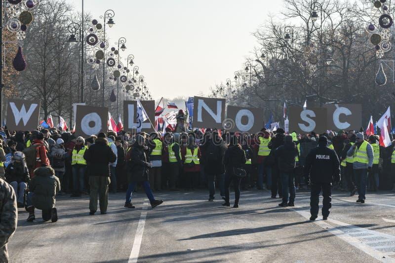 Польский комитет для обороны демонстрации демократии в w стоковые изображения rf