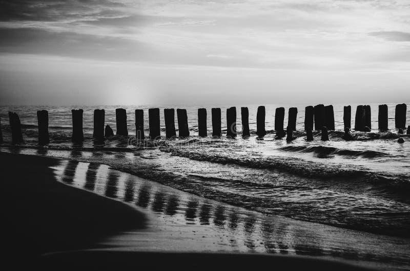 Польское море волнорезов и песчанных дюн стоковая фотография rf