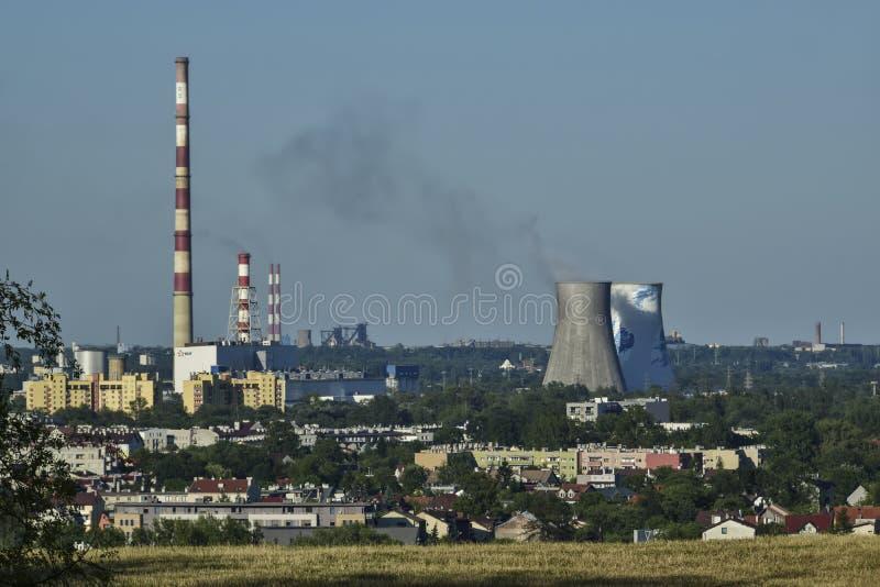 Польша, Краков 30-ое июля - 2017 Панорама города с взглядом o стоковая фотография rf